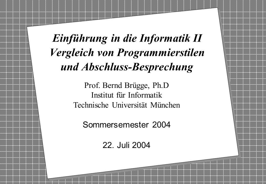 Copyright 2004 Bernd Brügge Einführung in die Informatik II: TUM Sommersemester 2004 22 Folien v Folien sind deutlich überfrachtet.