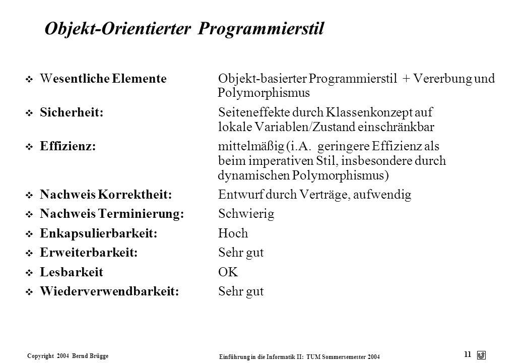 Copyright 2004 Bernd Brügge Einführung in die Informatik II: TUM Sommersemester 2004 11 Objekt-Orientierter Programmierstil v Wesentliche ElementeObje