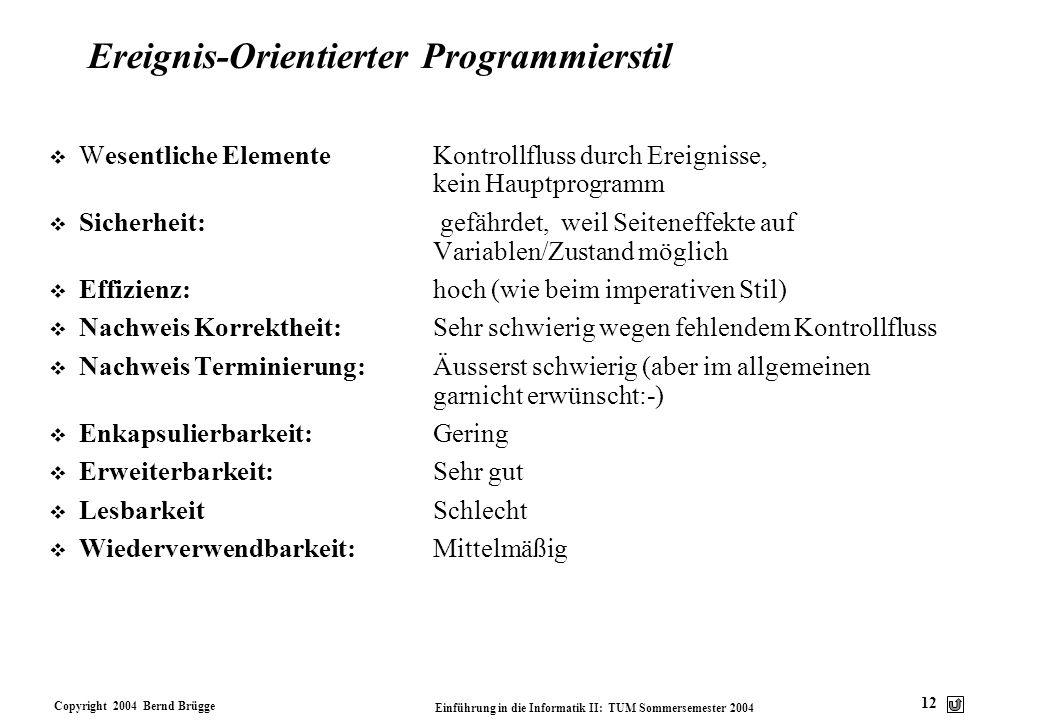 Copyright 2004 Bernd Brügge Einführung in die Informatik II: TUM Sommersemester 2004 12 Ereignis-Orientierter Programmierstil v Wesentliche ElementeKo