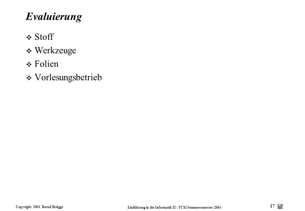 Copyright 2004 Bernd Brügge Einführung in die Informatik II: TUM Sommersemester 2004 17 Evaluierung v Stoff v Werkzeuge v Folien v Vorlesungsbetrieb
