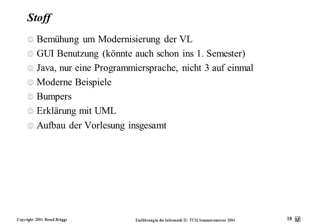 Copyright 2004 Bernd Brügge Einführung in die Informatik II: TUM Sommersemester 2004 18 Stoff Bemühung um Modernisierung der VL GUI Benutzung (könnte