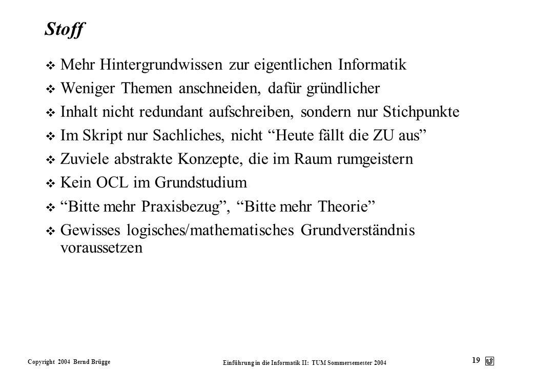 Copyright 2004 Bernd Brügge Einführung in die Informatik II: TUM Sommersemester 2004 19 Stoff v Mehr Hintergrundwissen zur eigentlichen Informatik v W