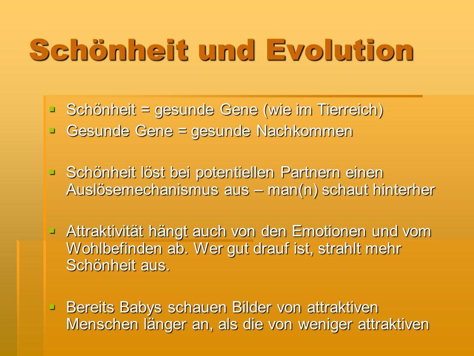 Schönheit und Evolution  Schönheit = gesunde Gene (wie im Tierreich)  Gesunde Gene = gesunde Nachkommen  Schönheit löst bei potentiellen Partnern e