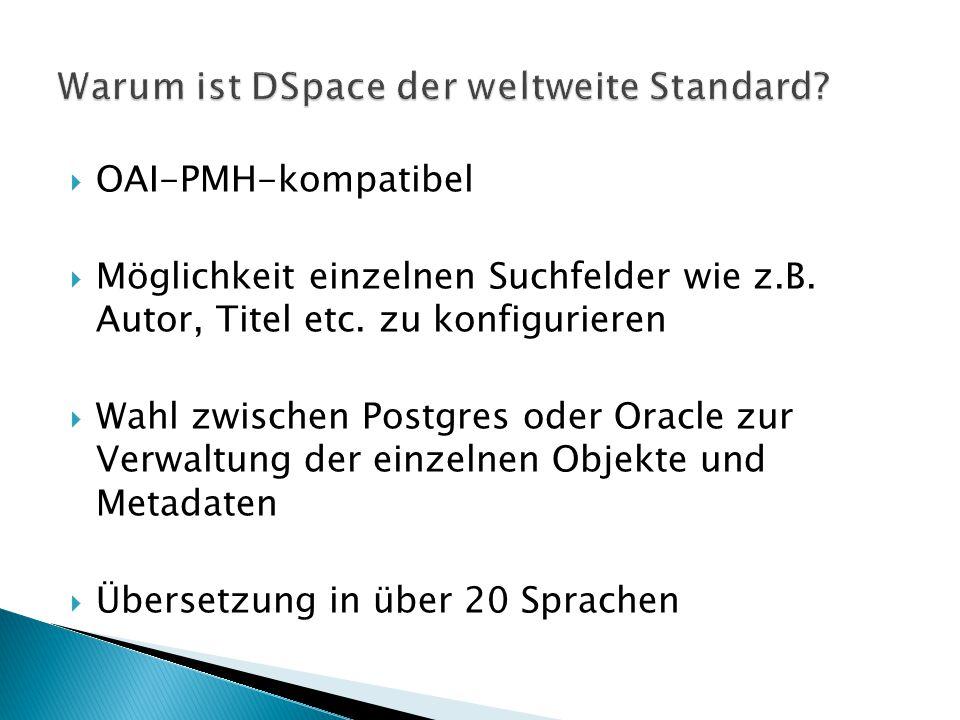  OAI-PMH-kompatibel  Möglichkeit einzelnen Suchfelder wie z.B. Autor, Titel etc. zu konfigurieren  Wahl zwischen Postgres oder Oracle zur Verwaltun