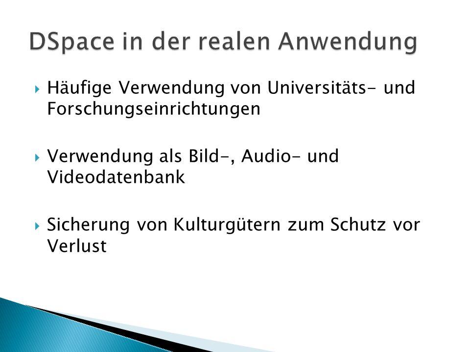  Häufige Verwendung von Universitäts- und Forschungseinrichtungen  Verwendung als Bild-, Audio- und Videodatenbank  Sicherung von Kulturgütern zum