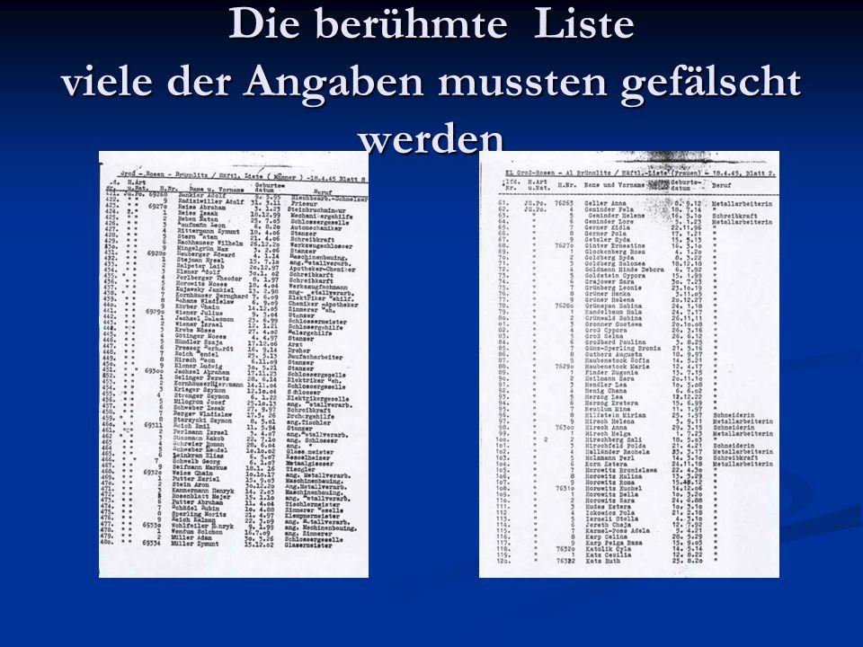 Die berühmte Liste viele der Angaben mussten gefälscht werden