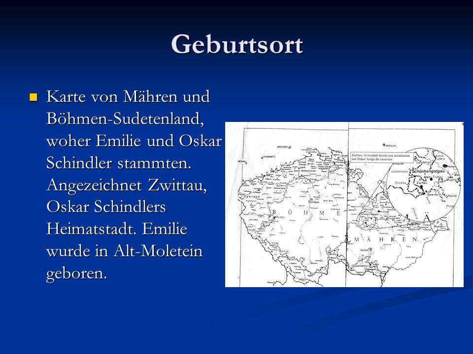 Geburtsort Karte von Mähren und Böhmen-Sudetenland, woher Emilie und Oskar Schindler stammten.