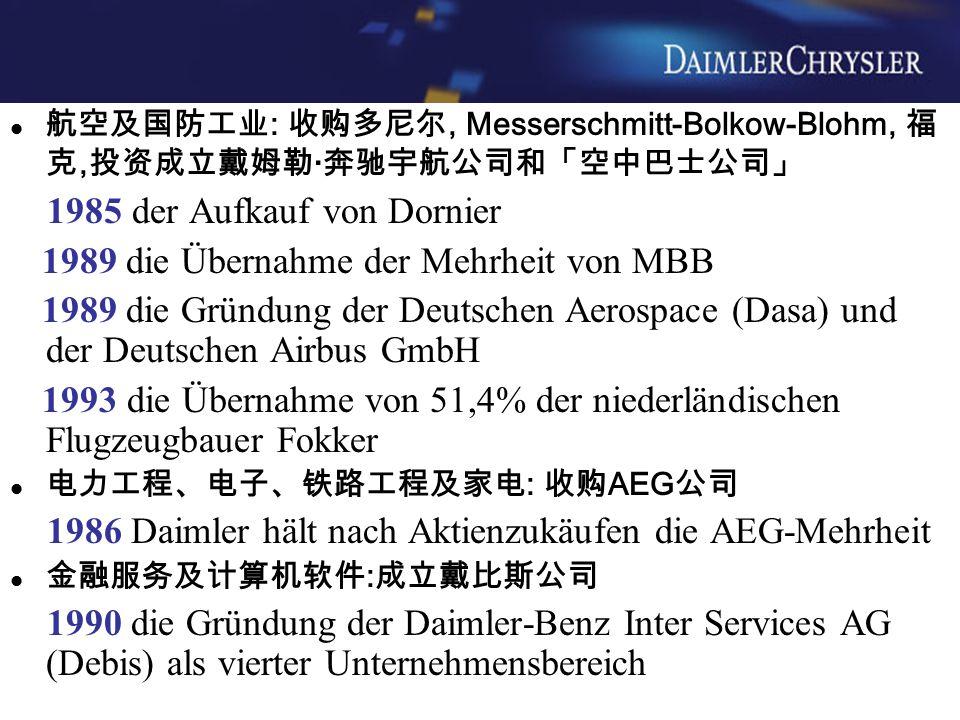 航空及国防工业 : 收购多尼尔, Messerschmitt-Bolkow-Blohm, 福 克, 投资成立戴姆勒 · 奔驰宇航公司和「空中巴士公司」 1985 der Aufkauf von Dornier 1989 die Übernahme der Mehrheit von MBB 1989