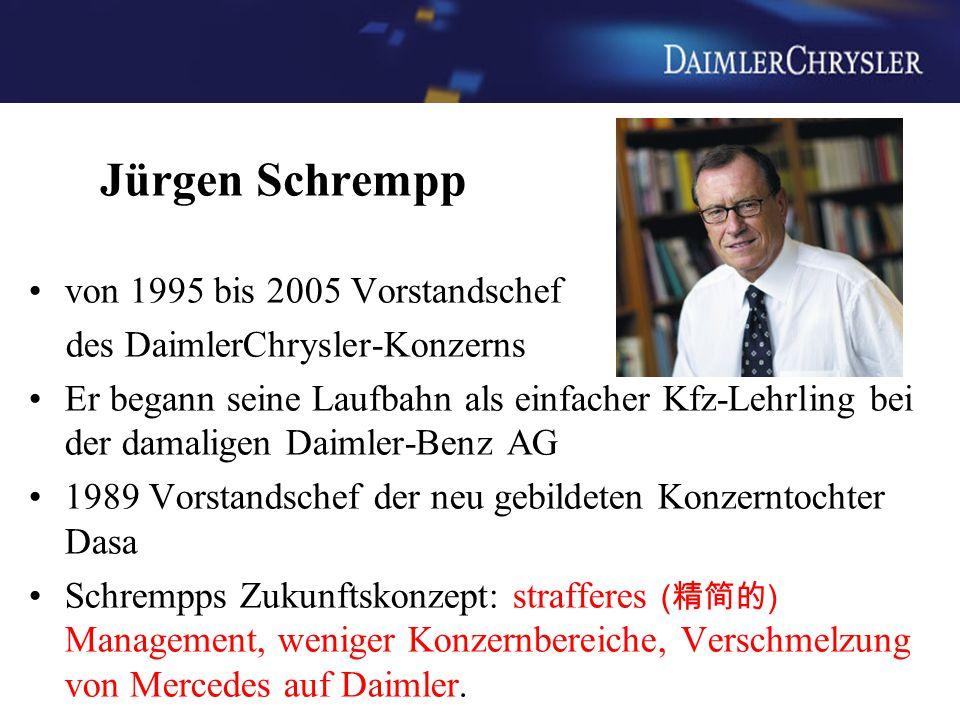 Jürgen Schrempp von 1995 bis 2005 Vorstandschef des DaimlerChrysler-Konzerns Er begann seine Laufbahn als einfacher Kfz-Lehrling bei der damaligen Dai
