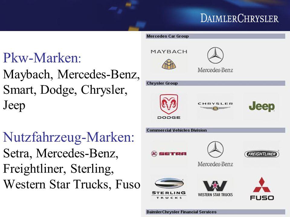 Pkw-Marken : Maybach, Mercedes-Benz, Smart, Dodge, Chrysler, Jeep Nutzfahrzeug-Marken: Setra, Mercedes-Benz, Freightliner, Sterling, Western Star Truc