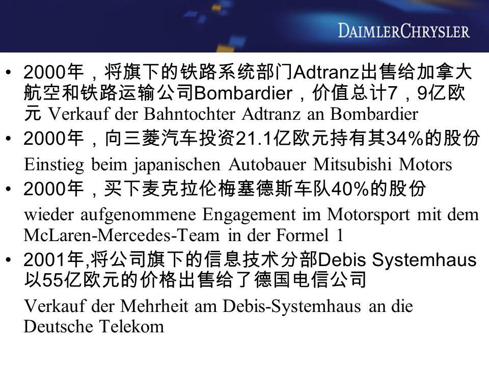 2000 年,将旗下的铁路系统部门 Adtranz 出售给加拿大 航空和铁路运输公司 Bombardier ,价值总计 7 , 9 亿欧 元 Verkauf der Bahntochter Adtranz an Bombardier 2000 年,向三菱汽车投资 21.1 亿欧元持有其 34% 的股