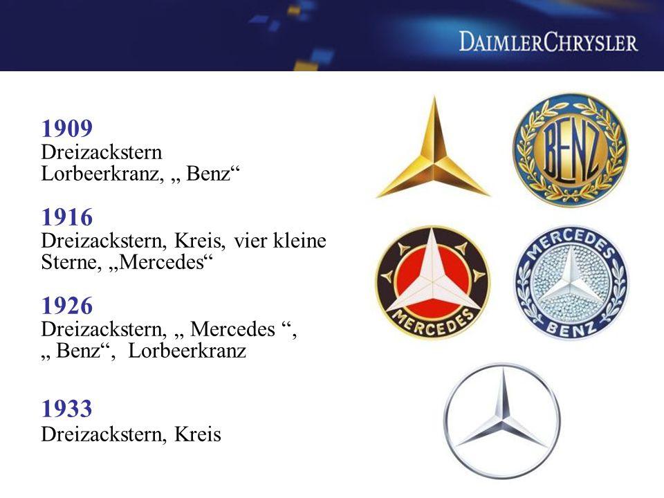 """1909 Dreizackstern Lorbeerkranz, """" Benz"""" 1916 Dreizackstern, Kreis, vier kleine Sterne, """"Mercedes"""" 1926 Dreizackstern, """" Mercedes """", """" Benz"""", Lorbeerk"""