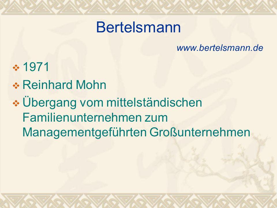  1971  Reinhard Mohn  Übergang vom mittelständischen Familienunternehmen zum Managementgeführten Großunternehmen Bertelsmann www.bertelsmann.de