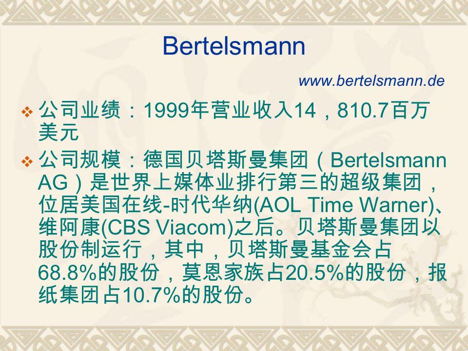 Bertelsmann www.bertelsmann.de  公司业绩: 1999 年营业收入 14 , 810.7 百万 美元  公司规模:德国贝塔斯曼集团( Bertelsmann AG )是世界上媒体业排行第三的超级集团, 位居美国在线 - 时代华纳 (AOL Time Warner) 、 维阿康 (CBS Viacom) 之后。贝塔斯曼集团以 股份制运行,其中,贝塔斯曼基金会占 68.8% 的股份,莫恩家族占 20.5% 的股份,报 纸集团占 10.7% 的股份。