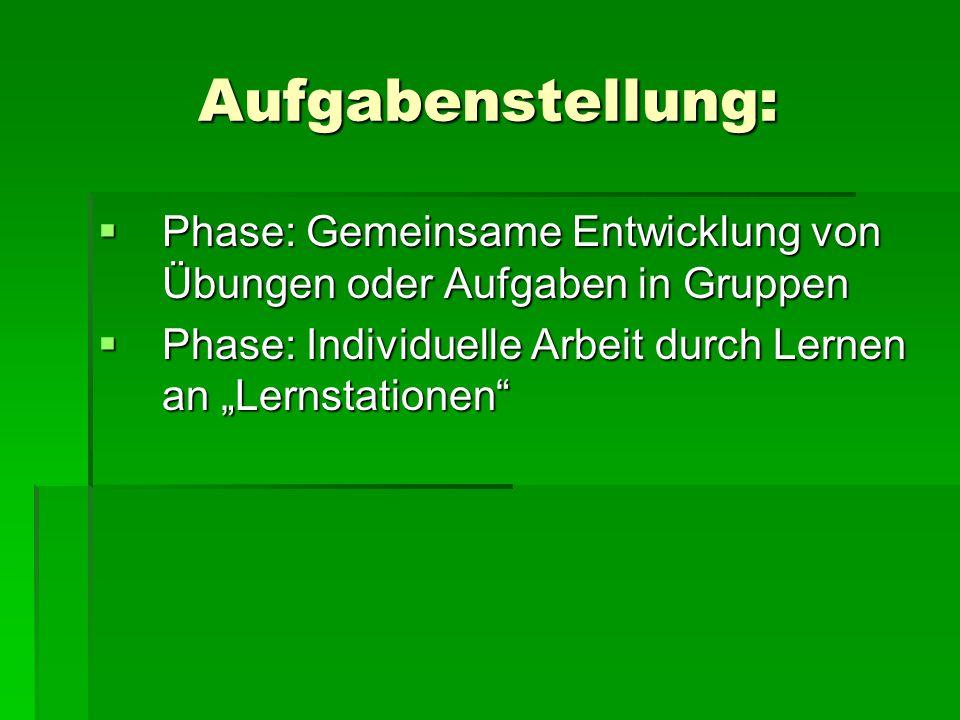 """Aufgabenstellung:  Phase: Gemeinsame Entwicklung von Übungen oder Aufgaben in Gruppen  Phase: Individuelle Arbeit durch Lernen an """"Lernstationen"""""""