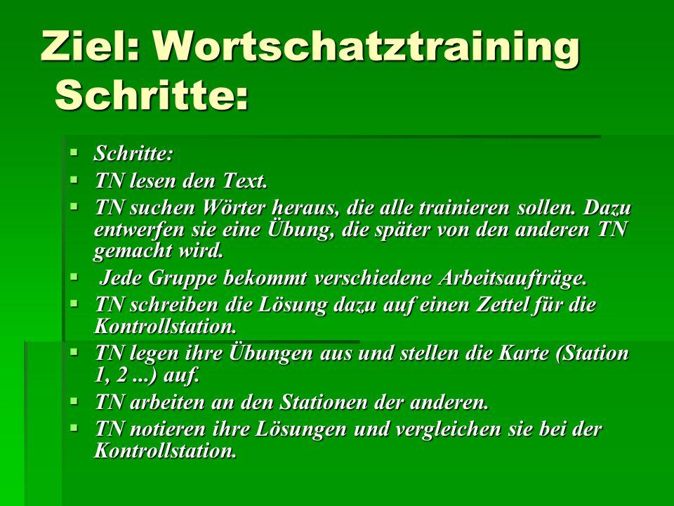 Ziel: Wortschatztraining Schritte:  Schritte:  TN lesen den Text.  TN suchen Wörter heraus, die alle trainieren sollen. Dazu entwerfen sie eine Übu