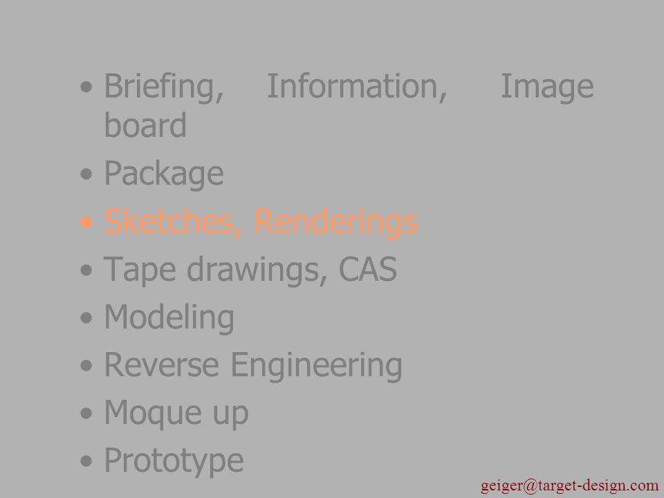 Briefing, Information, Image board Package Sketches, Renderings Tape drawings, CAS Modeling Reverse Engineering Moque up Prototype