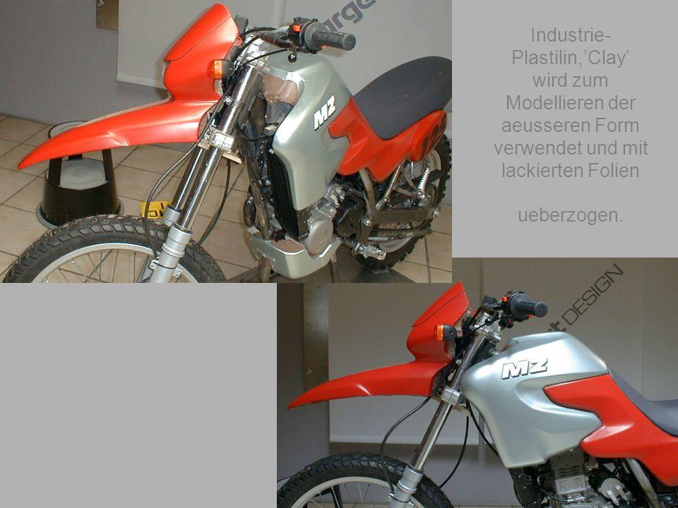 geiger@target-design.com Industrie- Plastilin,'Clay' wird zum Modellieren der aeusseren Form verwendet und mit lackierten Folien ueberzogen.