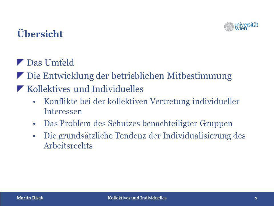 Martin Risak Kollektives und Individuelles2 Übersicht  Das Umfeld  Die Entwicklung der betrieblichen Mitbestimmung  Kollektives und Individuelles K