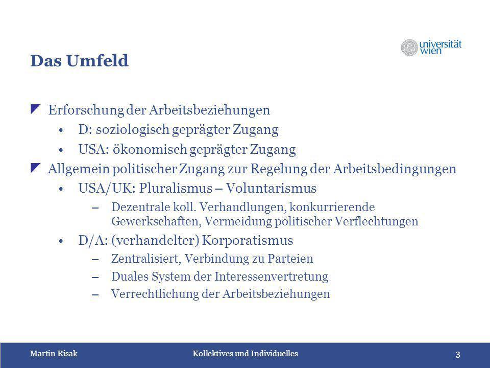 Martin Risak Kollektives und Individuelles3 Das Umfeld  Erforschung der Arbeitsbeziehungen D: soziologisch geprägter Zugang USA: ökonomisch geprägter