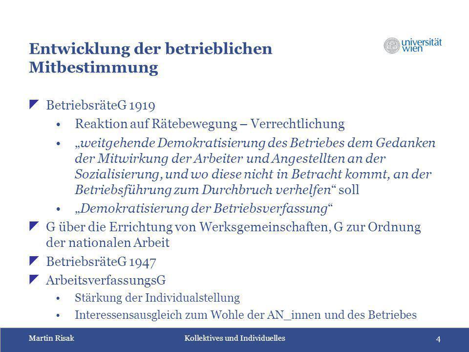 Martin Risak Kollektives und Individuelles4 Entwicklung der betrieblichen Mitbestimmung  BetriebsräteG 1919 Reaktion auf Rätebewegung – Verrechtlichu