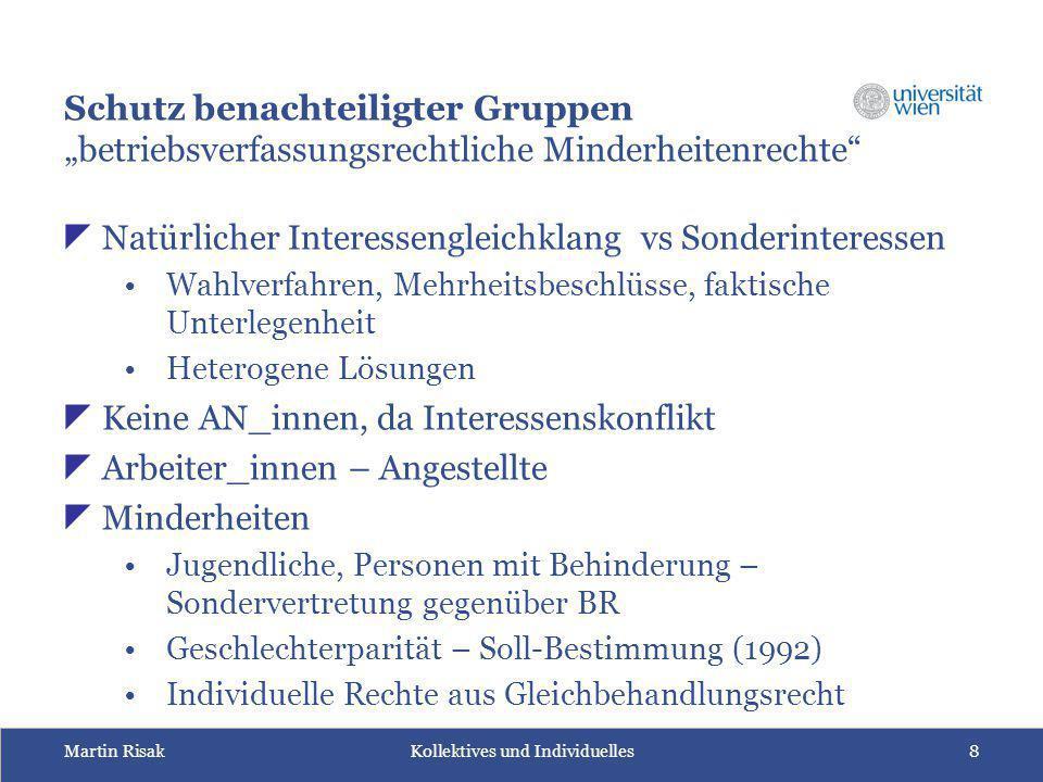 """Martin Risak Kollektives und Individuelles8 Schutz benachteiligter Gruppen """"betriebsverfassungsrechtliche Minderheitenrechte""""  Natürlicher Interessen"""