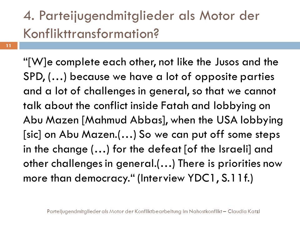 4. Parteijugendmitglieder als Motor der Konflikttransformation? Parteijugendmitglieder als Motor der Konfliktbearbeitung im Nahostkonflikt – Claudia K