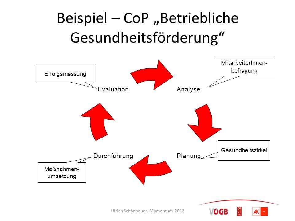"""Beispiel – CoP """"Betriebliche Gesundheitsförderung"""" Analyse Planung Durchführung Evaluation Maßnahmen- umsetzung Gesundheitszirkel Erfolgsmessung Mitar"""