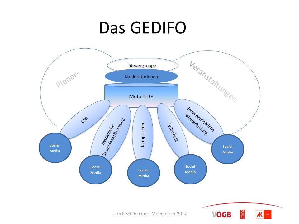 Das GEDIFO Steuergruppe ModeratorInnen Meta-COP CSR Betriebliche Gesundheitsförderung Innerbetriebliche Weiterbildung Zeitarbeit Kampagnen Social Medi