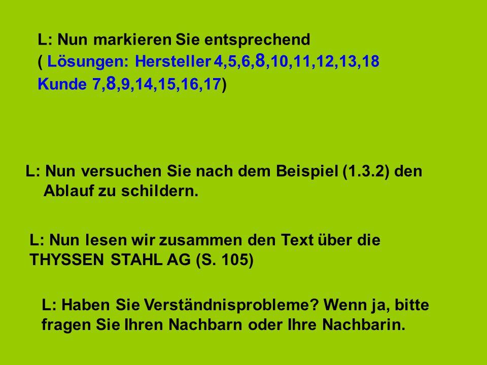 L: Nun markieren Sie entsprechend ( Lösungen: Hersteller 4,5,6, 8,10,11,12,13,18 Kunde 7, 8,9,14,15,16,17) L: Nun versuchen Sie nach dem Beispiel (1.3