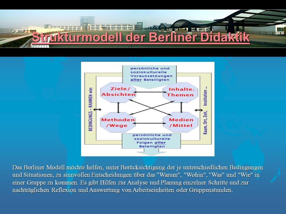 Strukturmodell der Berliner Didaktik Strukturmodell der Berliner Didaktik Das Berliner Modell möchte helfen, unter Berücksichtigung der je unterschiedlichen Bedingungen und Situationen, zu sinnvollen Entscheidungen über das Warum , Wohin , Was und Wie in einer Gruppe zu kommen.