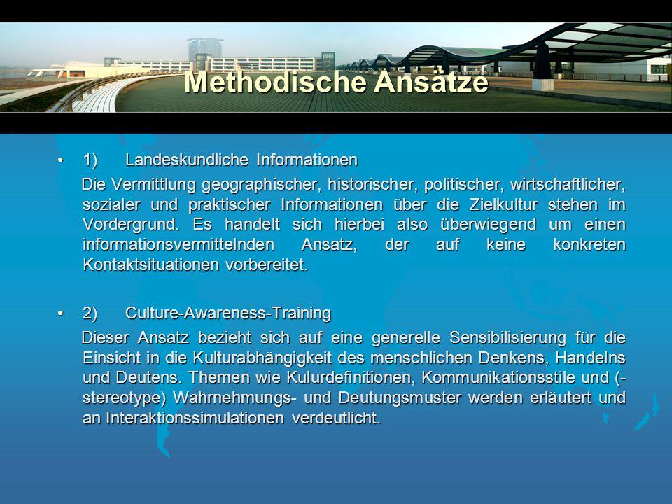 1. Trainingstyp: Landeskundliche Informationen 2.Tainingstyp: Culture-Awareness-Training 3.Trainingstyp: Culture Assimilator 4.Traingingstyp: Interakt