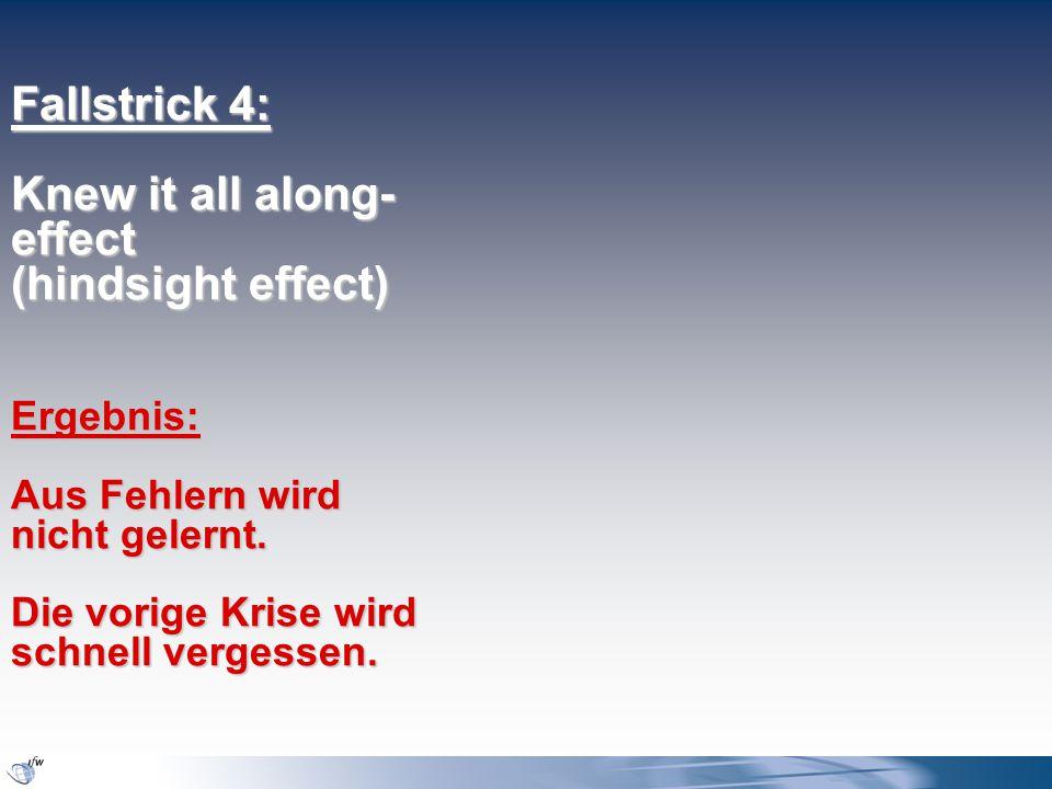 Fallstrick 4: Knew it all along- effect (hindsight effect) Ergebnis: Aus Fehlern wird nicht gelernt.