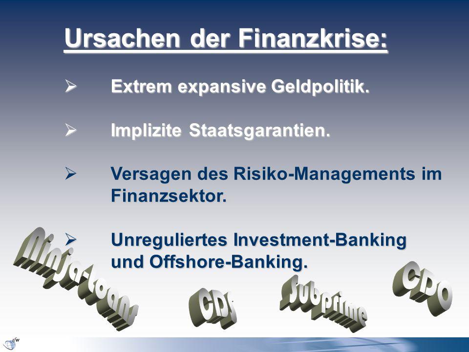 Ursachen der Finanzkrise:  Extrem expansive Geldpolitik.