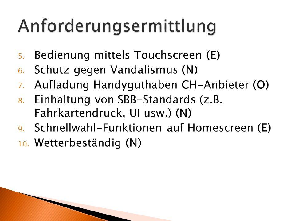 5. Bedienung mittels Touchscreen (E) 6. Schutz gegen Vandalismus (N) 7. Aufladung Handyguthaben CH-Anbieter (O) 8. Einhaltung von SBB-Standards (z.B.