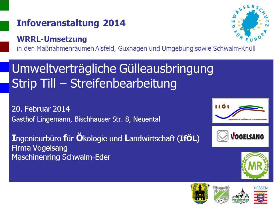 Infoveranstaltung 2014 WRRL-Umsetzung in den Maßnahmenräumen Alsfeld, Guxhagen und Umgebung sowie Schwalm-Knüll Umweltverträgliche Gülleausbringung St