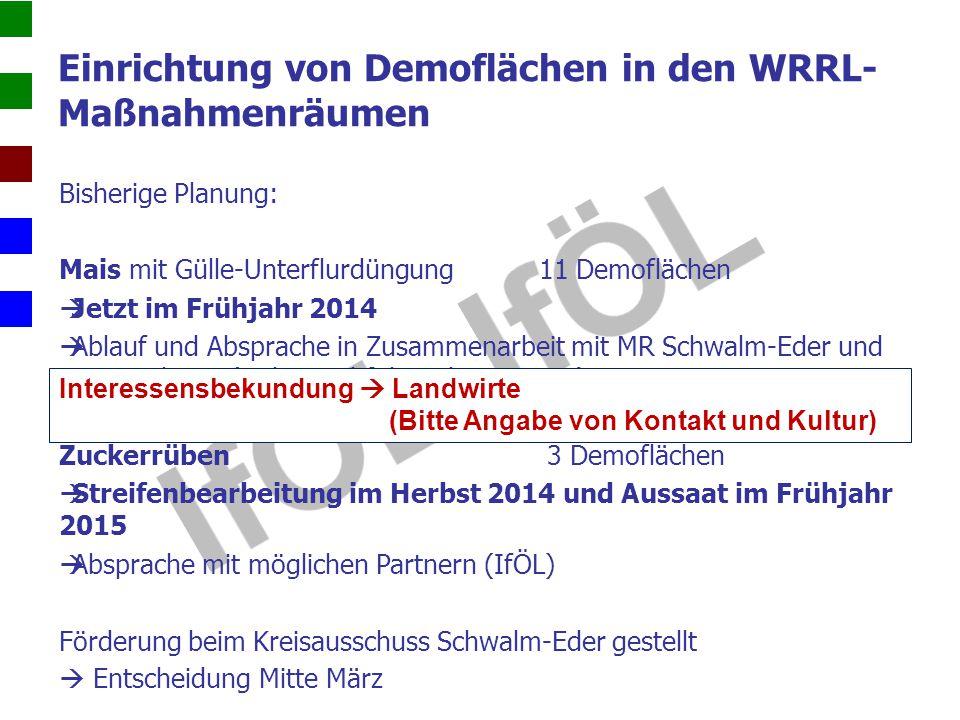 Einrichtung von Demoflächen in den WRRL- Maßnahmenräumen Bisherige Planung: Mais mit Gülle-Unterflurdüngung 11 Demoflächen  Jetzt im Frühjahr 2014 