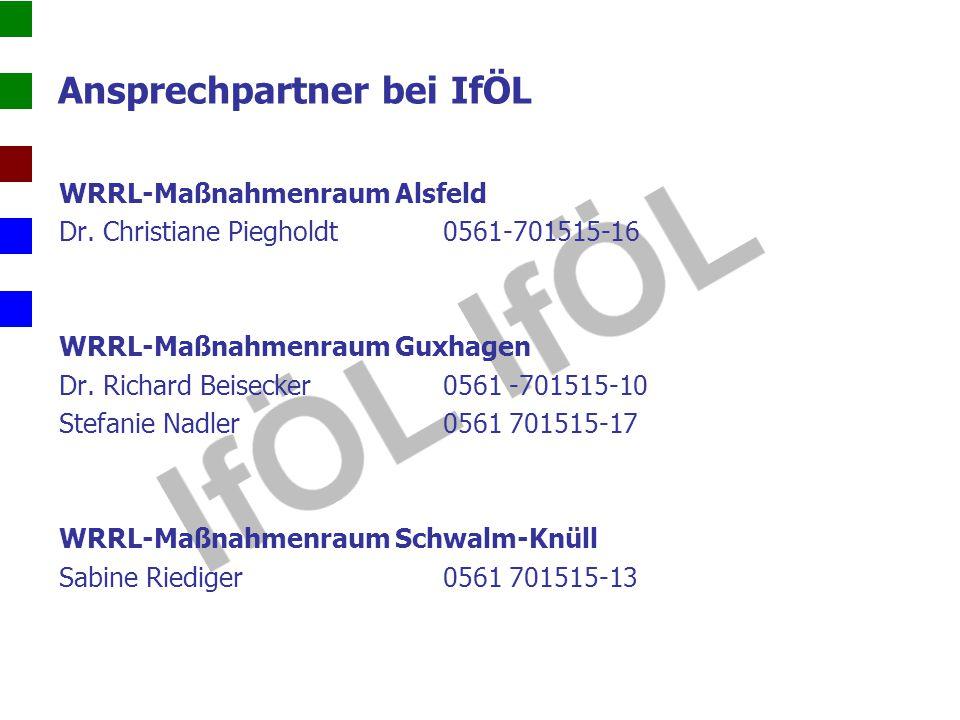 Ansprechpartner bei IfÖL WRRL-Maßnahmenraum Alsfeld Dr. Christiane Piegholdt 0561-701515-16 WRRL-Maßnahmenraum Guxhagen Dr. Richard Beisecker 0561 -70