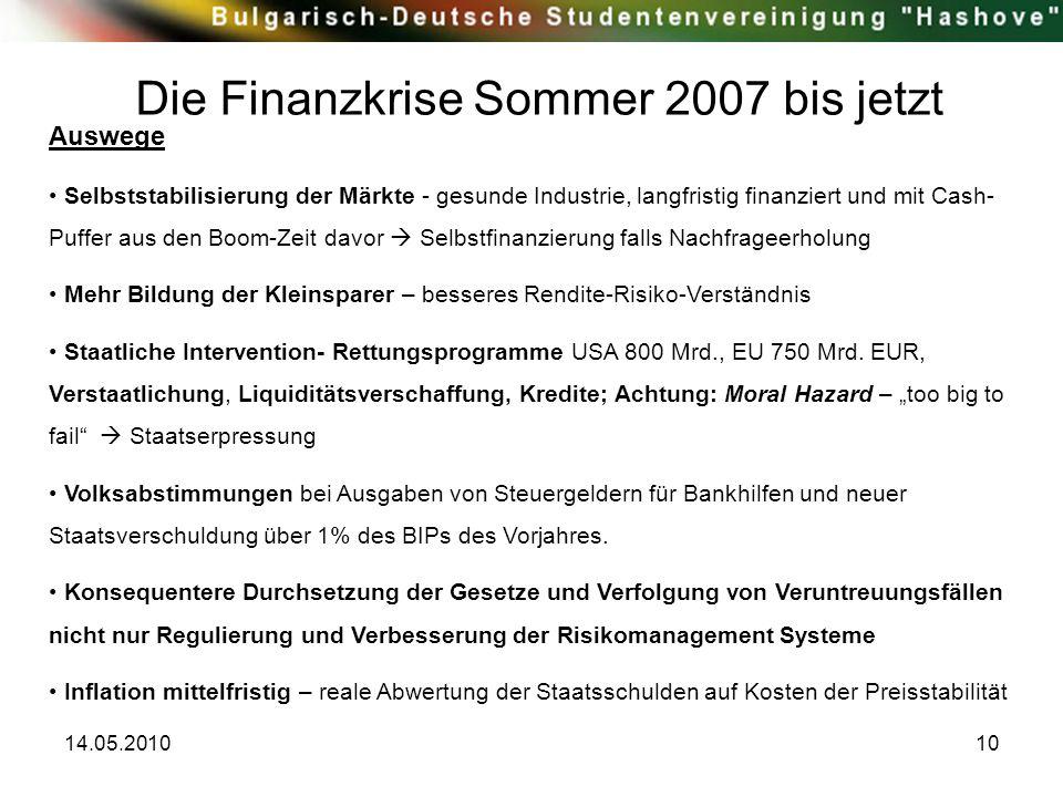 14.05.201010 Die Finanzkrise Sommer 2007 bis jetzt Auswege Selbststabilisierung der Märkte - gesunde Industrie, langfristig finanziert und mit Cash- P