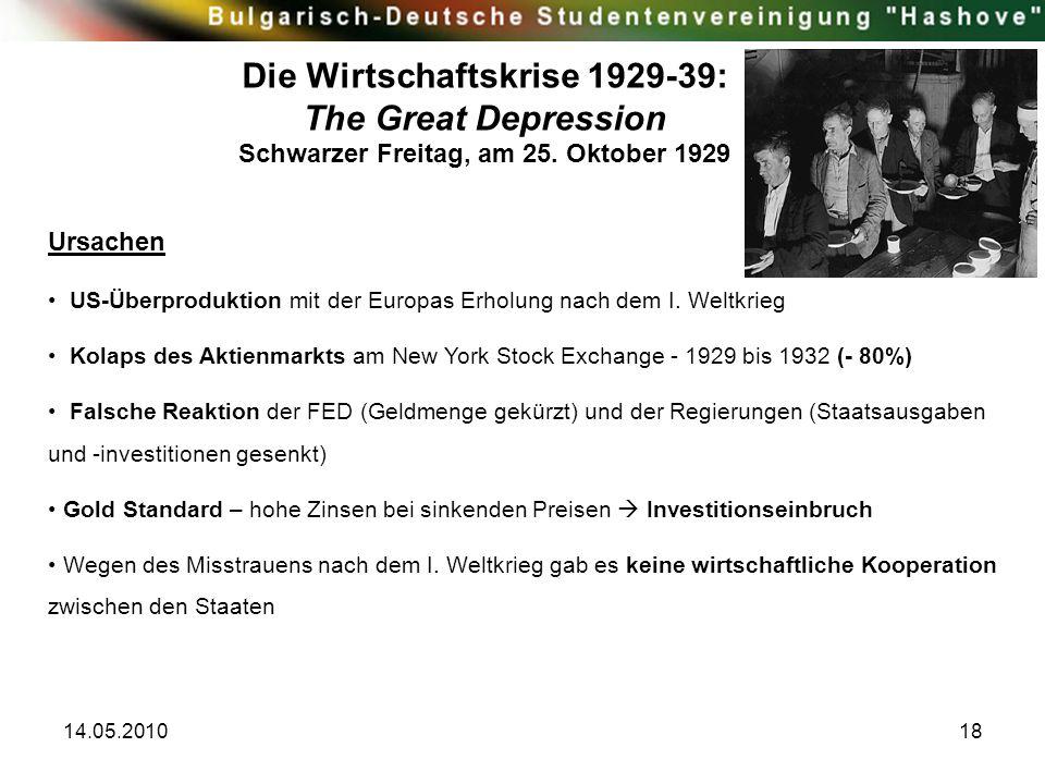 14.05.201018 Die Wirtschaftskrise 1929-39: The Great Depression Schwarzer Freitag, am 25. Oktober 1929 Ursachen US-Überproduktion mit der Europas Erho