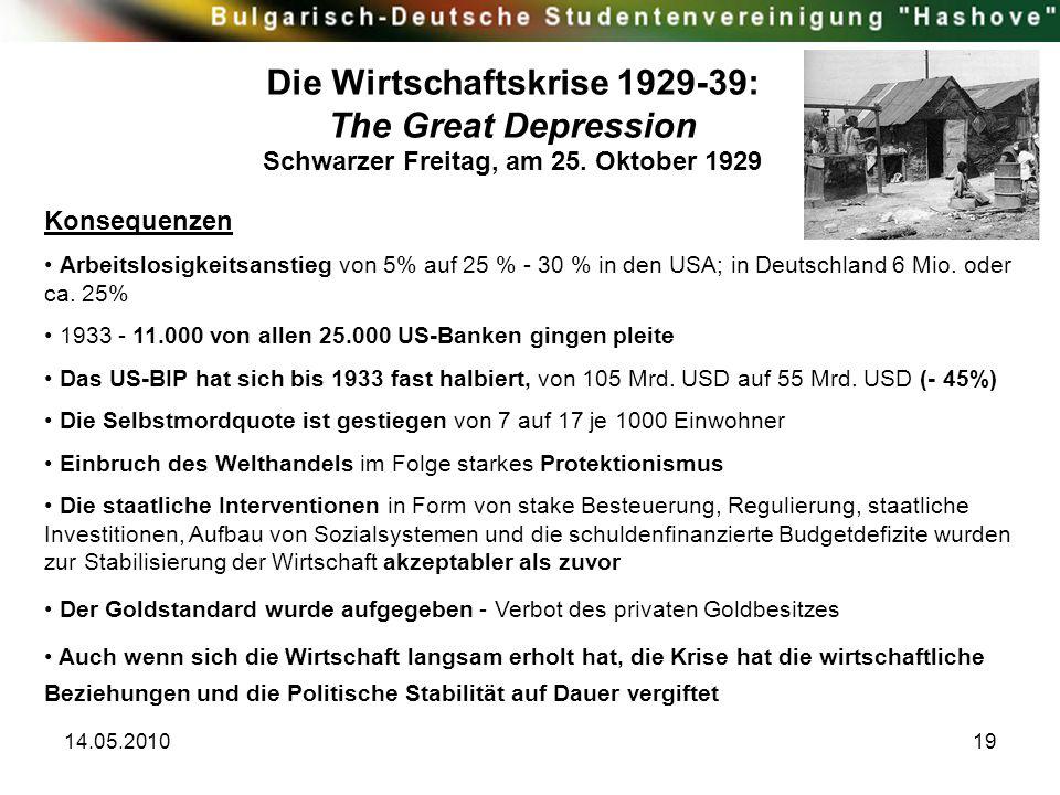 14.05.201019 Konsequenzen Arbeitslosigkeitsanstieg von 5% auf 25 % - 30 % in den USA; in Deutschland 6 Mio. oder ca. 25% 1933 - 11.000 von allen 25.00