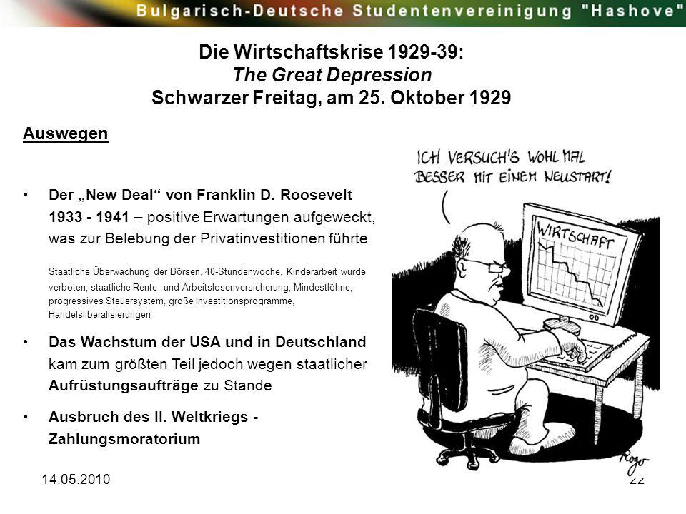"""14.05.201022 Auswegen Der """"New Deal"""" von Franklin D. Roosevelt 1933 - 1941 – positive Erwartungen aufgeweckt, was zur Belebung der Privatinvestitionen"""