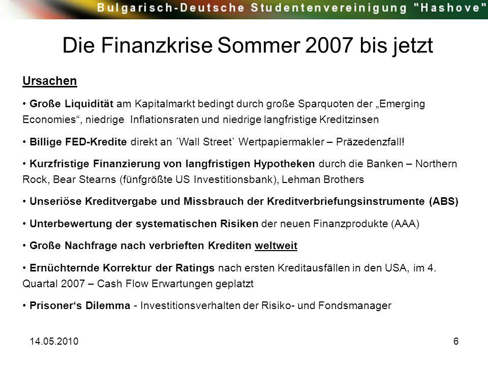 """14.05.20106 Die Finanzkrise Sommer 2007 bis jetzt Ursachen Große Liquidität am Kapitalmarkt bedingt durch große Sparquoten der """"Emerging Economies"""", n"""