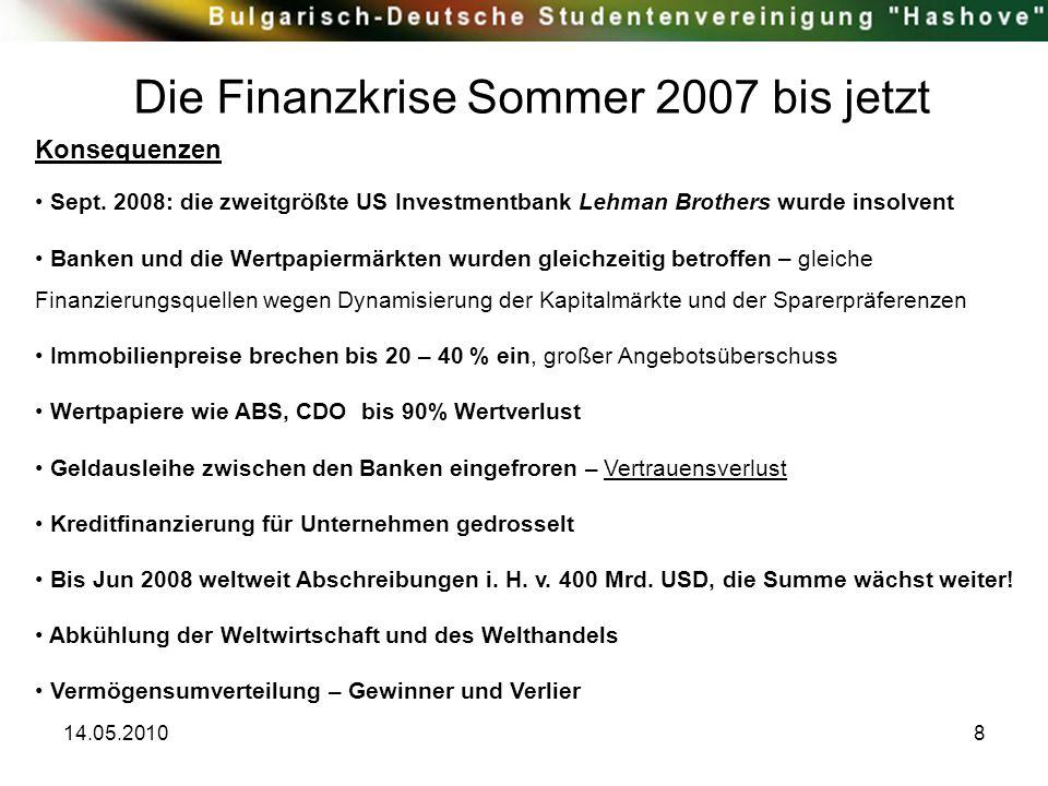 14.05.20108 Die Finanzkrise Sommer 2007 bis jetzt Konsequenzen Sept. 2008: die zweitgrößte US Investmentbank Lehman Brothers wurde insolvent Banken un