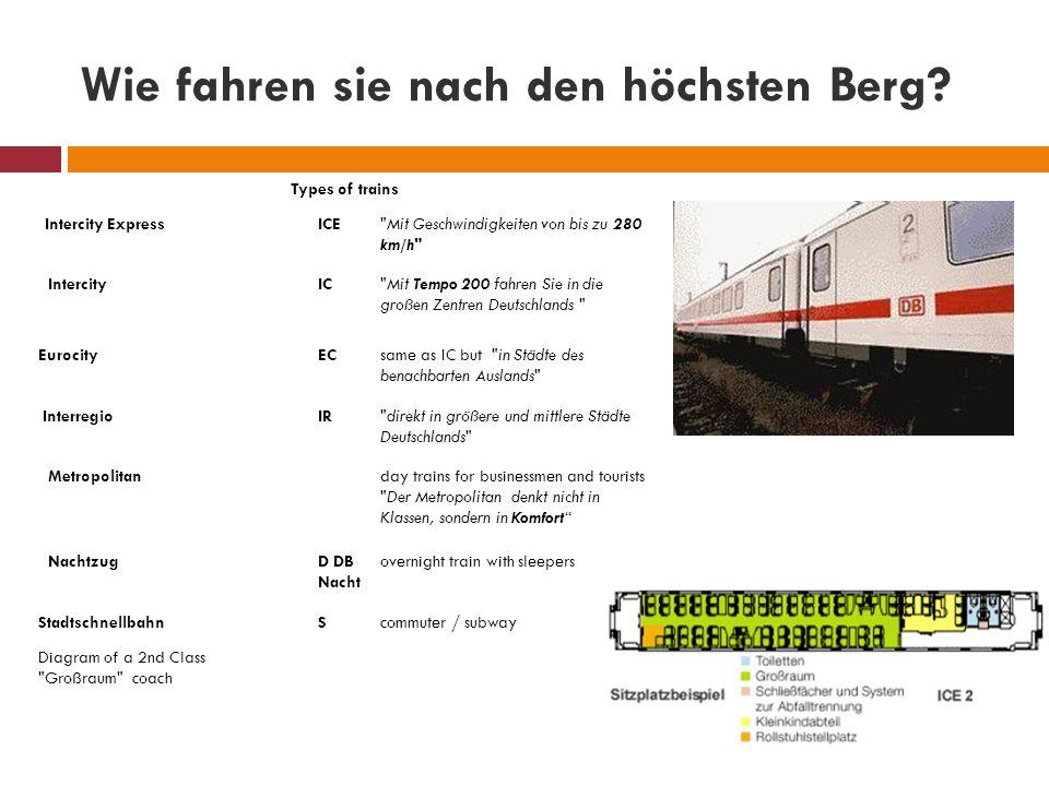 Wie fahren sie nach den höchsten Berg? Types of trains Intercity ExpressICE