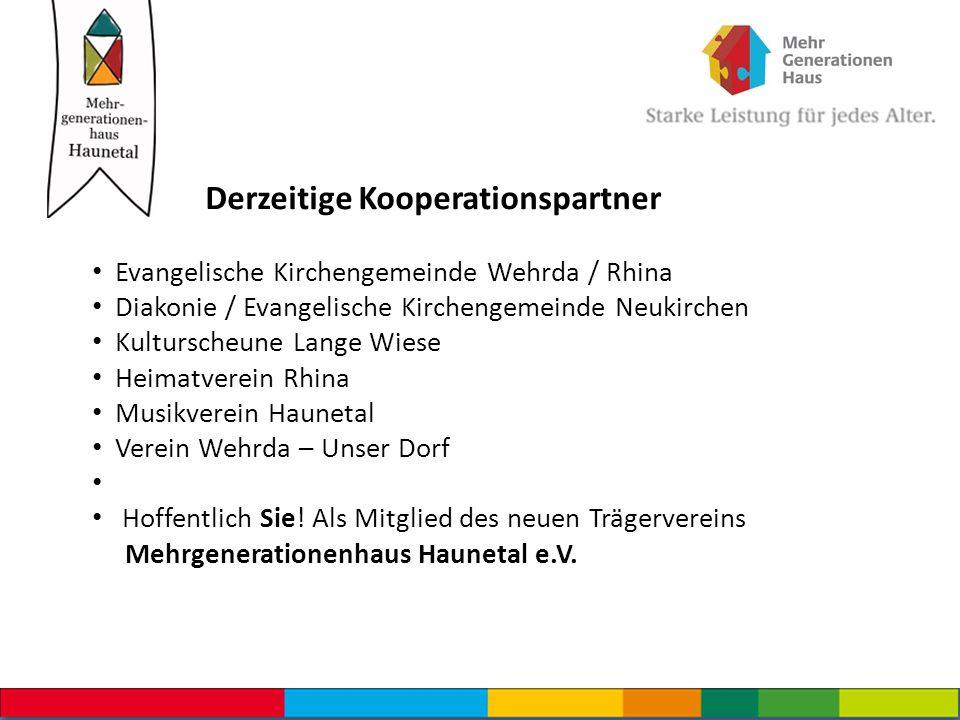 Derzeitige Kooperationspartner Evangelische Kirchengemeinde Wehrda / Rhina Diakonie / Evangelische Kirchengemeinde Neukirchen Kulturscheune Lange Wies