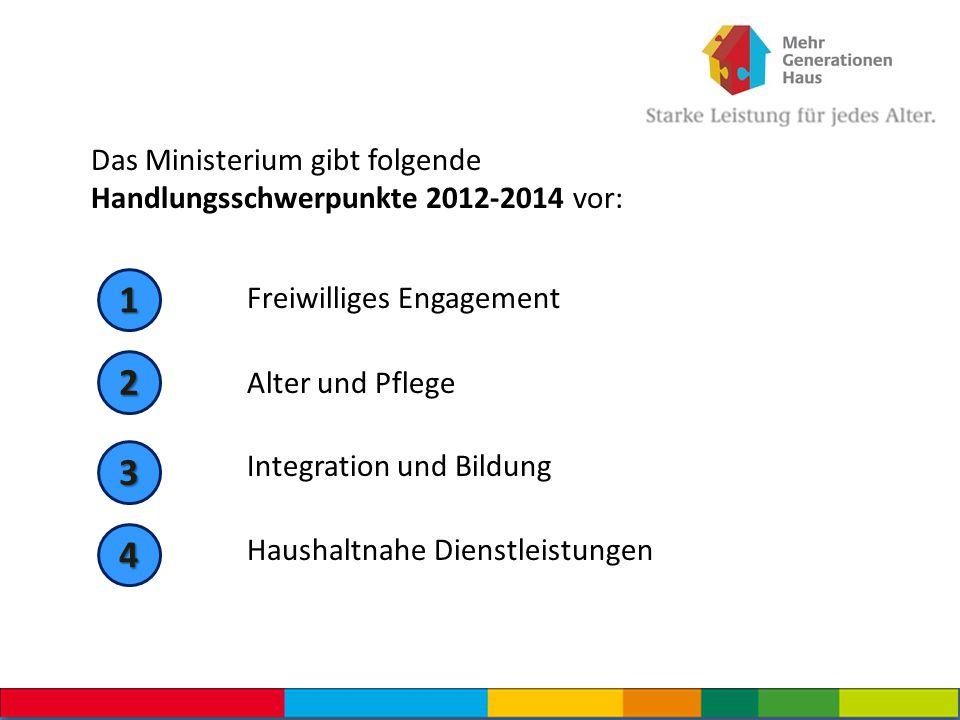 Das Ministerium gibt folgende Handlungsschwerpunkte 2012-2014 vor: Freiwilliges Engagement Alter und Pflege Integration und Bildung Haushaltnahe Diens