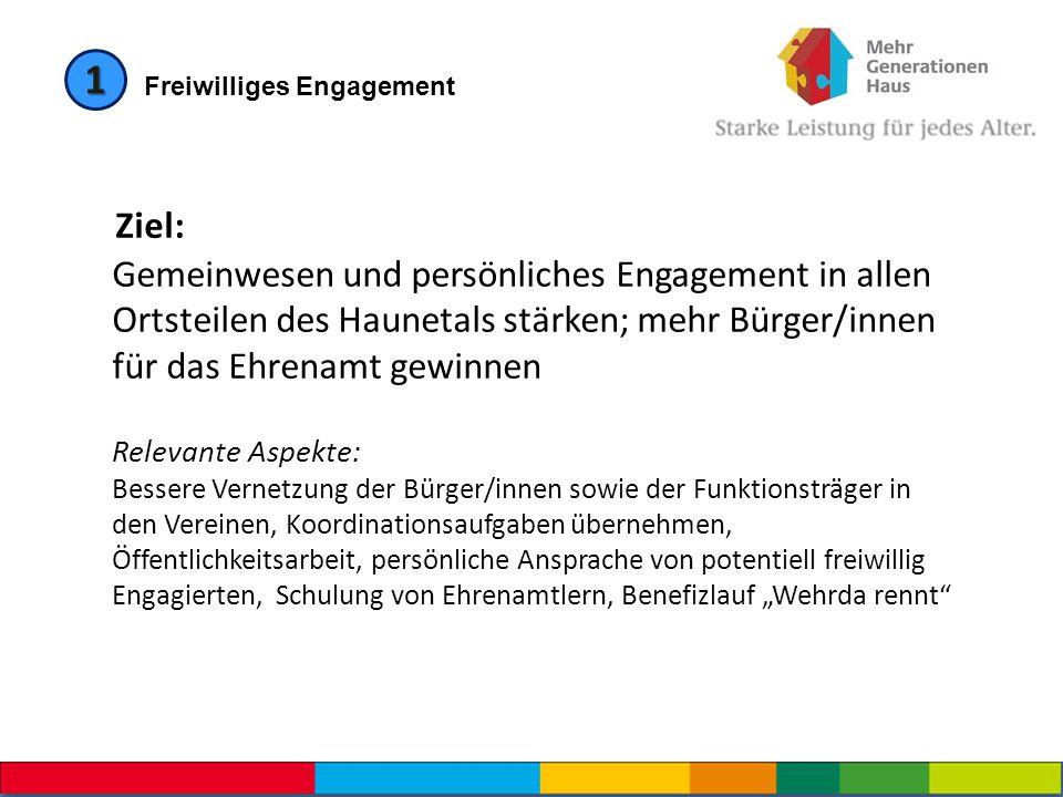 1 Freiwilliges Engagement Ziel: Gemeinwesen und persönliches Engagement in allen Ortsteilen des Haunetals stärken; mehr Bürger/innen für das Ehrenamt