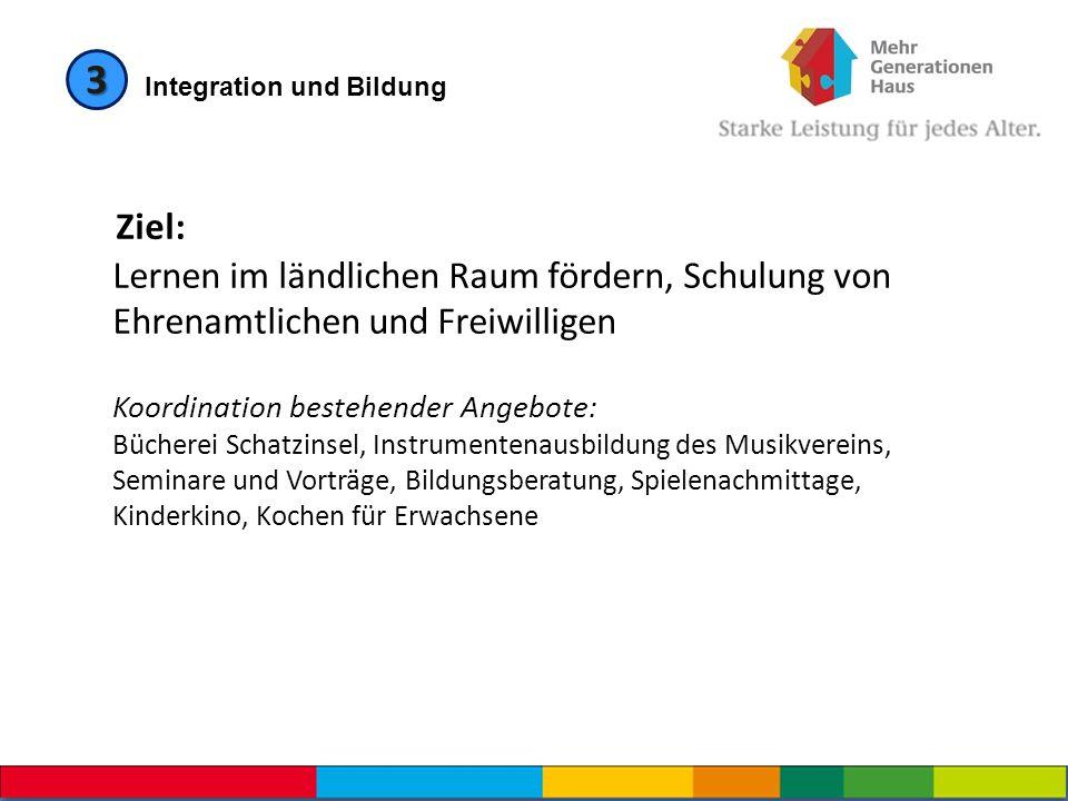 Integration und Bildung 3 Ziel: Lernen im ländlichen Raum fördern, Schulung von Ehrenamtlichen und Freiwilligen Koordination bestehender Angebote: Büc