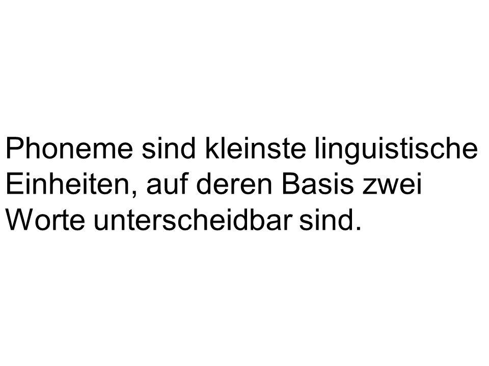 Phoneme sind kleinste linguistische Einheiten, auf deren Basis zwei Worte unterscheidbar sind.